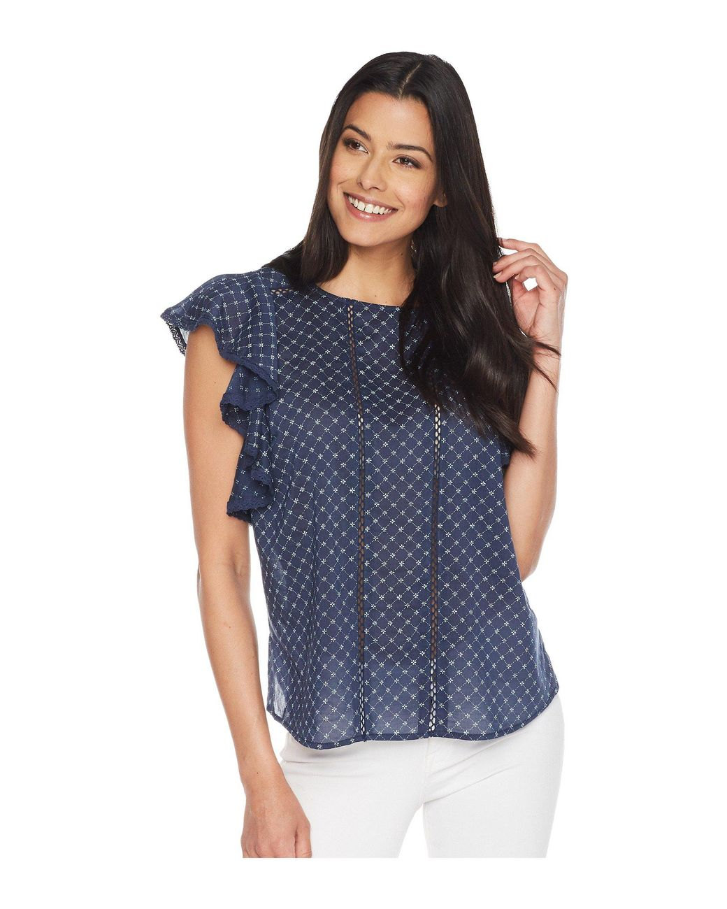 9c79024d1f7f34 Lyst - Two By Vince Camuto Ruffle Sleeve Stitched Florets Lace-trim Blouse  in Blue - Save 56%