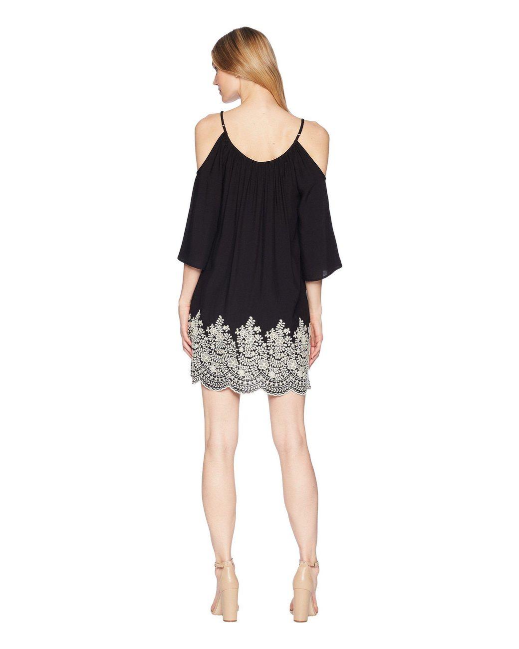 8502fc6cd21 Lyst - Karen Kane Embroidered Cold Shoulder Dress in Black - Save 62%