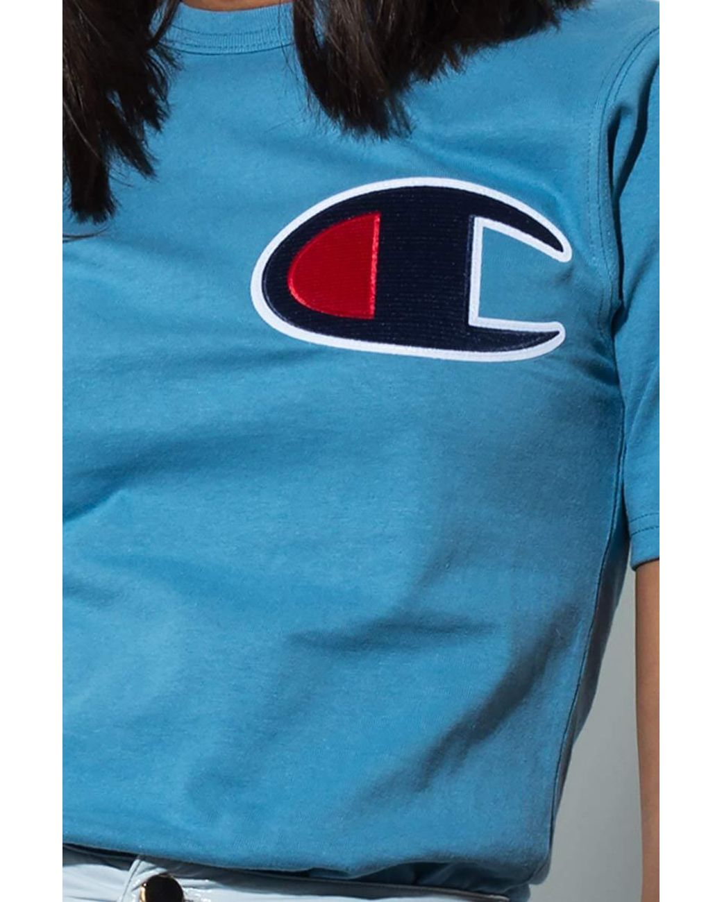 049d7eba Champion Big C Patch Heritage Tee in Blue - Lyst