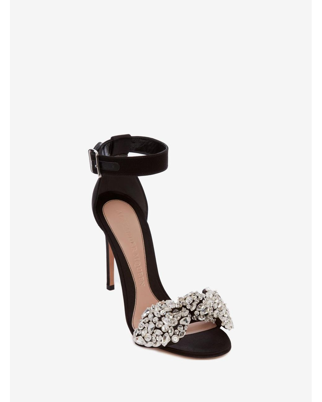 5727bbb4a04 Alexander McQueen Black Bow Embroidered Sandal