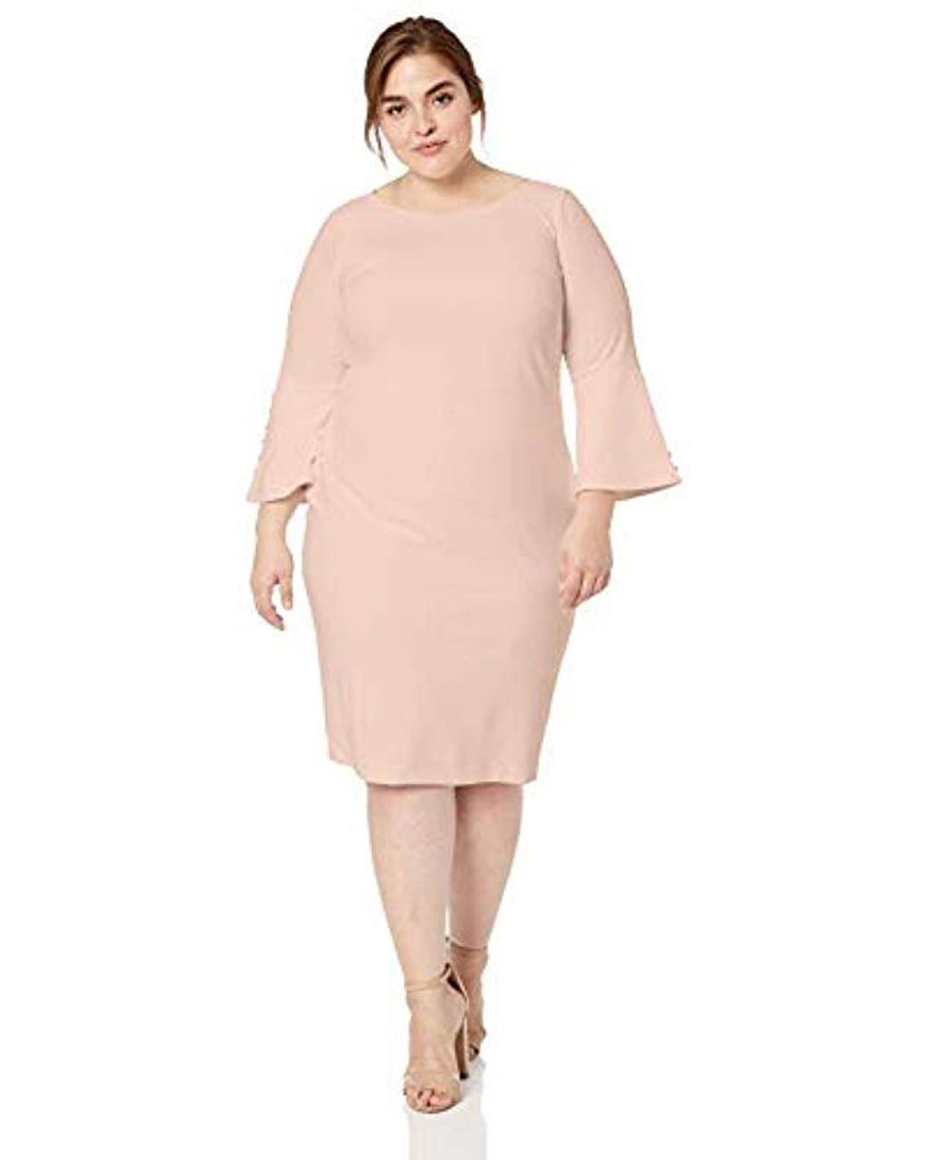 258d99f1 Calvin Klein Plus Size Solid Sheath With Detailed Bell Sleeve Dress in Pink  - Lyst