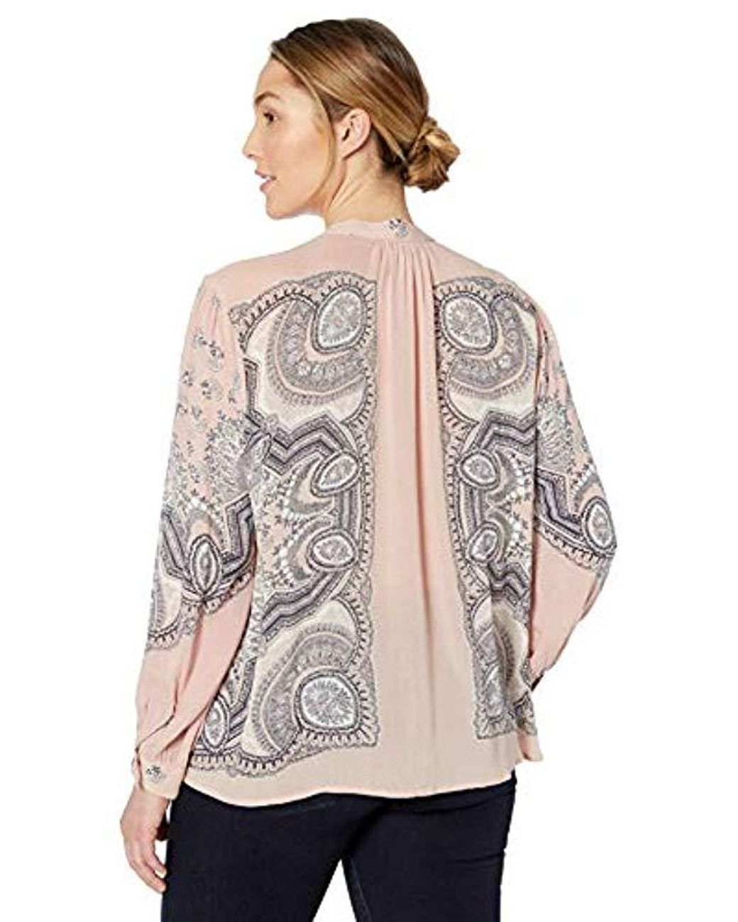 4c4e007fa23925 Lucky Brand Plus Size Scarf Paisley Popover Peasant Top - Lyst