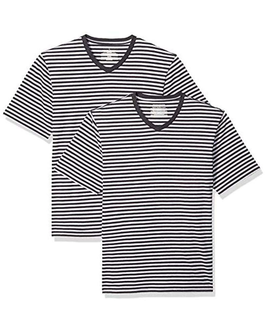 1c1c113c4a Amazon Essentials. Men's Black Loose-fit Short-sleeve Stripe V-neck T-shirts