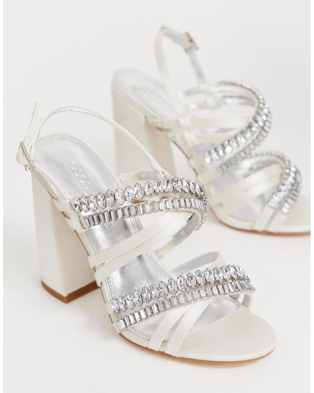 448e9d7a70b Lyst - ASOS Honeymoon Embellished Block Heeled Sandals In Ivory in White