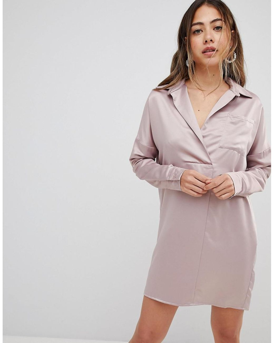 2a5672537900dc Missguided Satin Shirt Dress in Pink - Lyst
