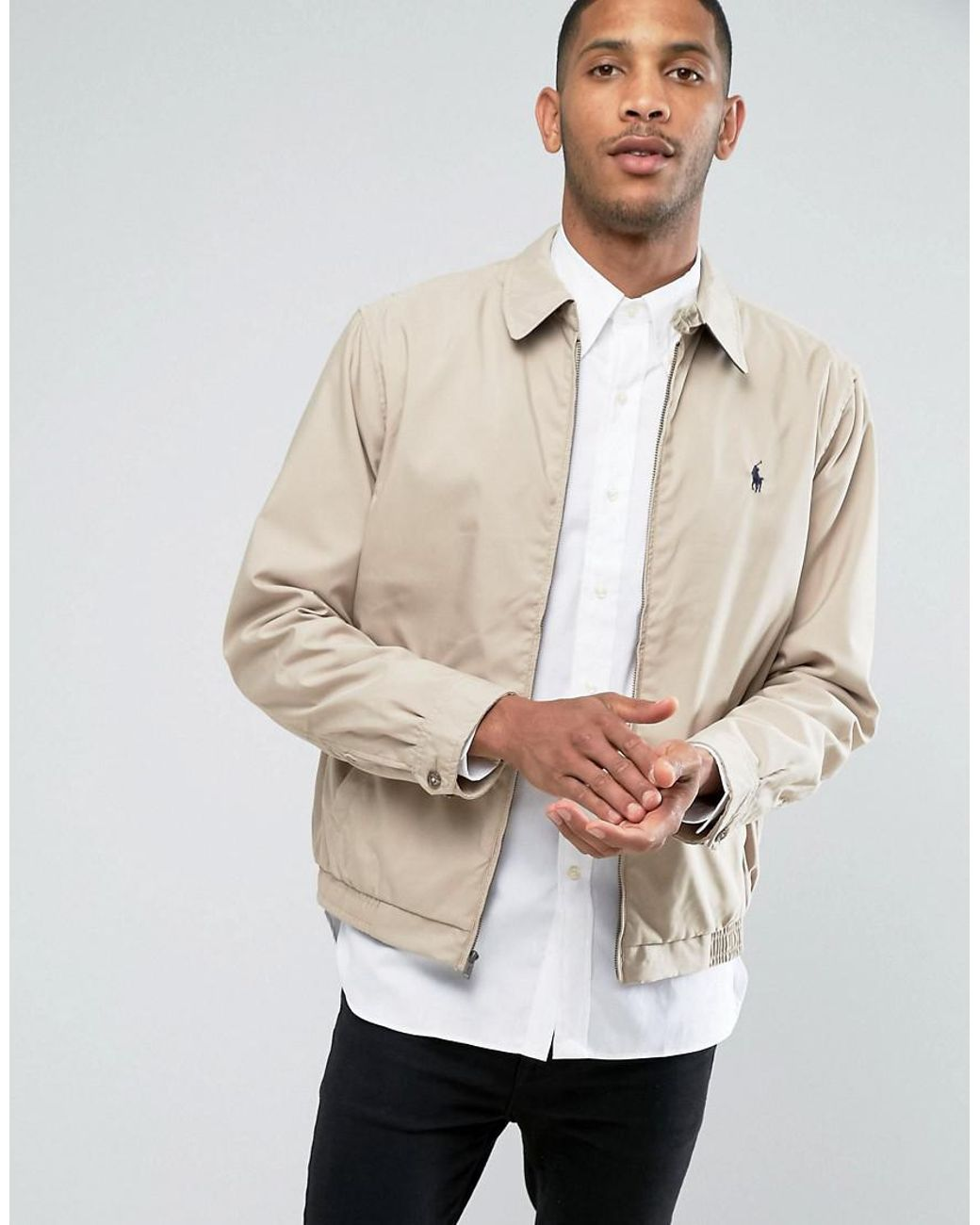 6469b41a8178 Polo Ralph Lauren Harrington Jacket in Natural for Men - Lyst