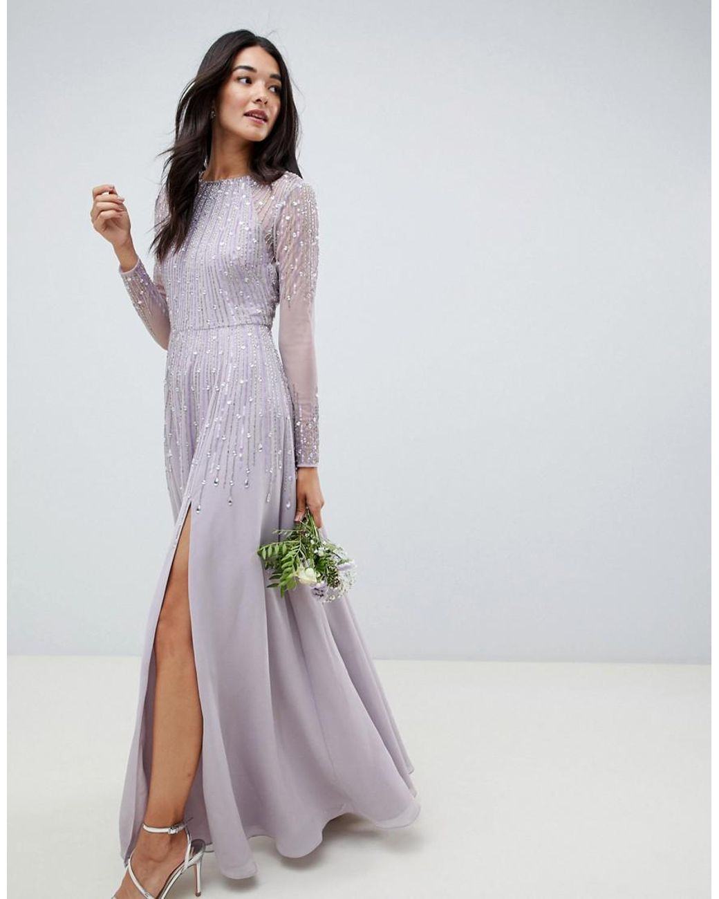 77b56b5de0 ASOS Maxi Dress In Delicate Linear Sequin With Long Sleeves in Gray ...