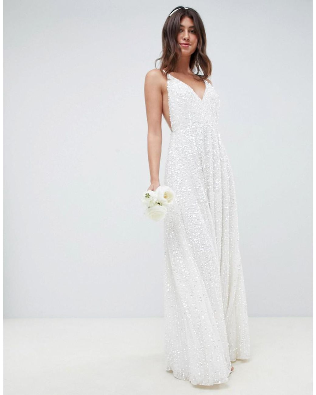 43d1f229ba0 ASOS Sequin Cami Wedding Dress in White - Lyst