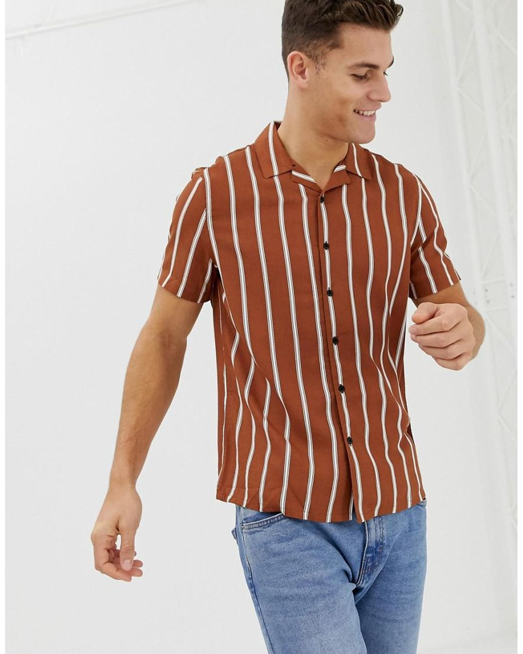 c5827fa90b New Look Regular Fit Viscose Stripe Shirt With Revere Collar In Rust in  Yellow for Men - Lyst