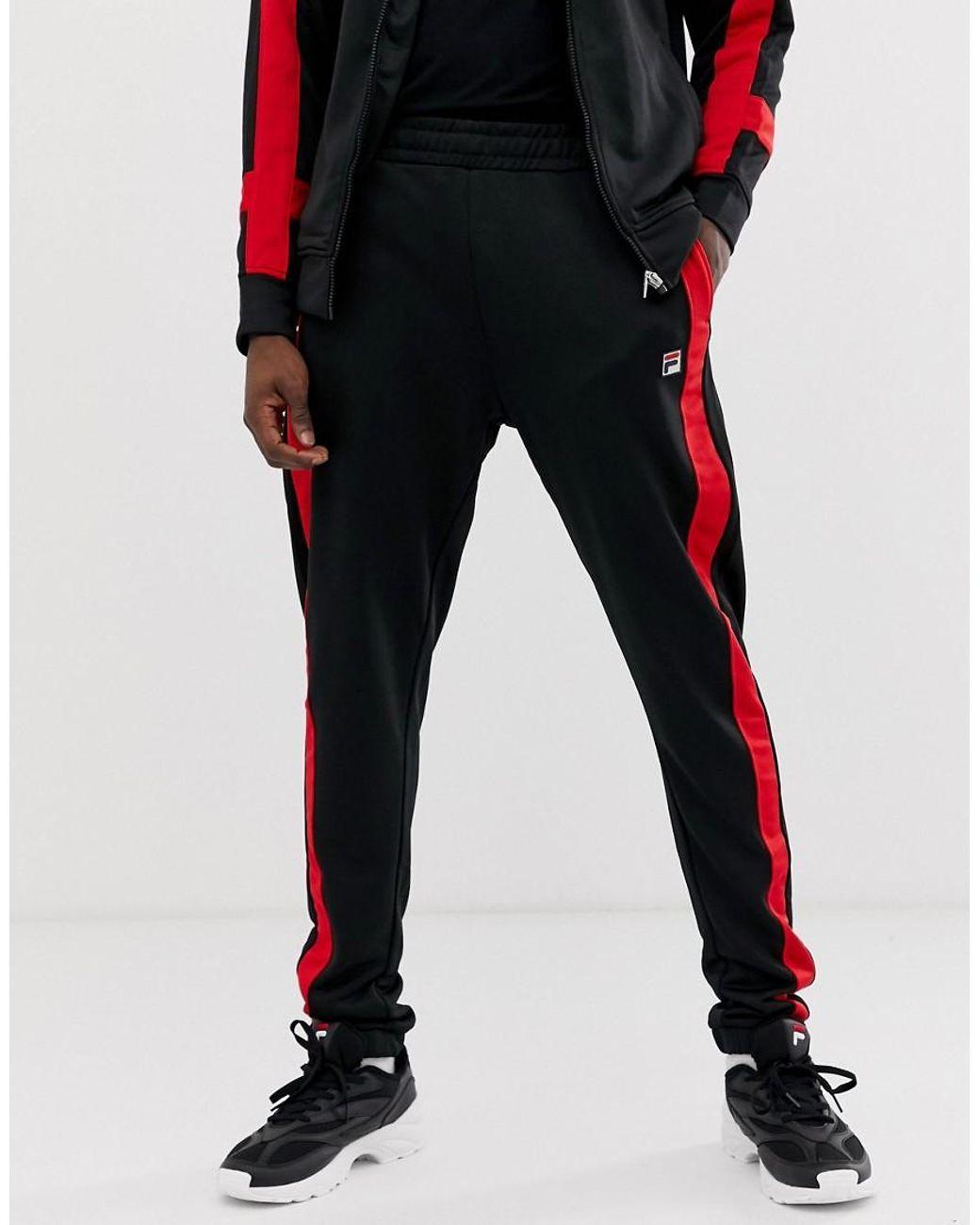 977117a3da5cf Fila Renzo Track jogger With Taping In Black in Black for Men - Lyst