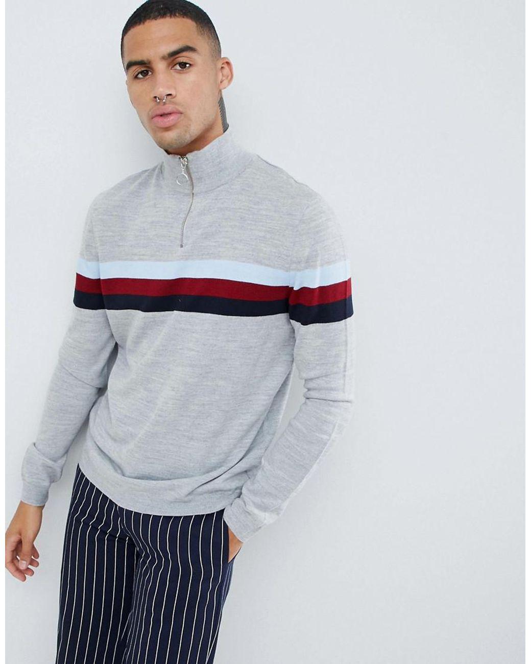 50d41a67c14 Lyst - ASOS Half Zip Color Block Sweater In Gray in Gray for Men