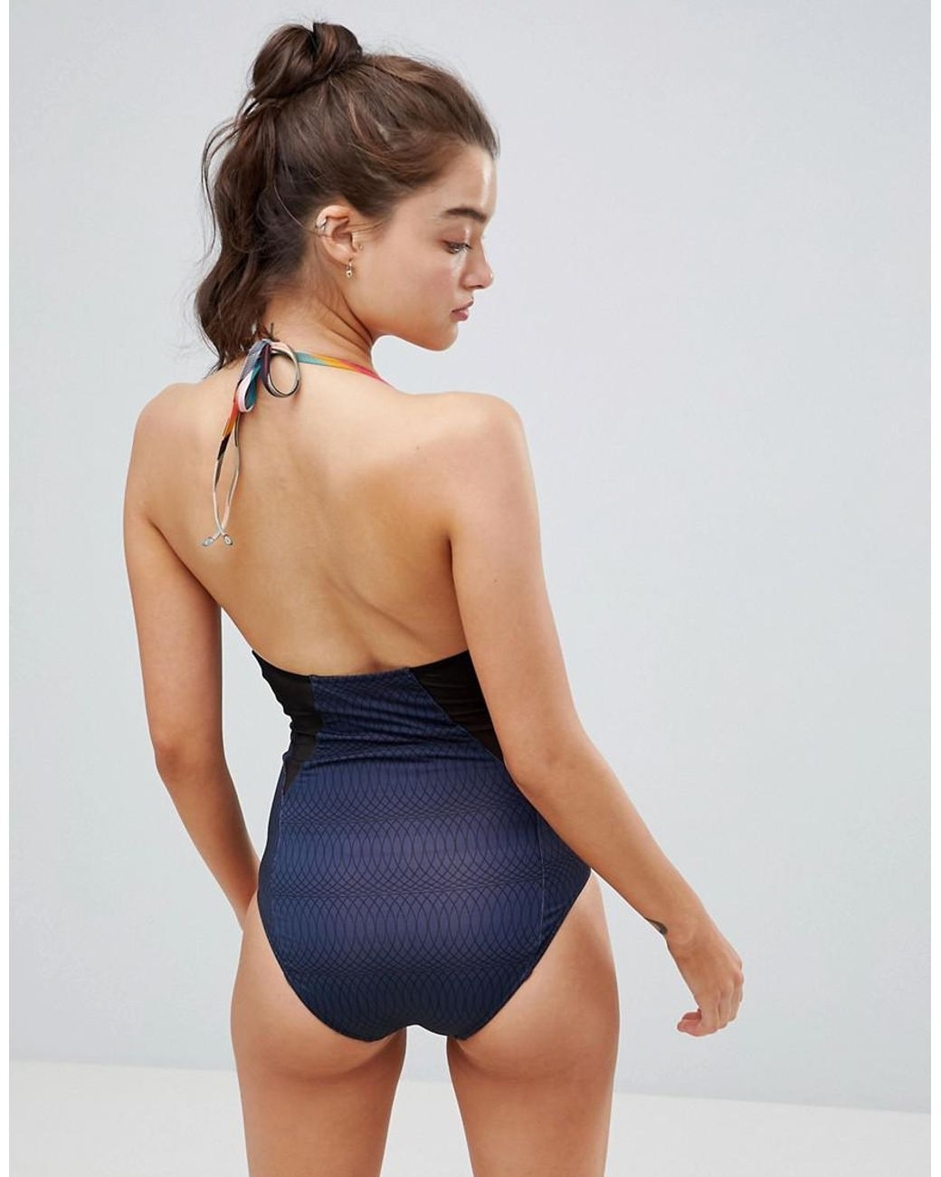 ca19c1b5da PS by Paul Smith Ps By Paul Smith Pannelled Swimsuit in Blue - Lyst