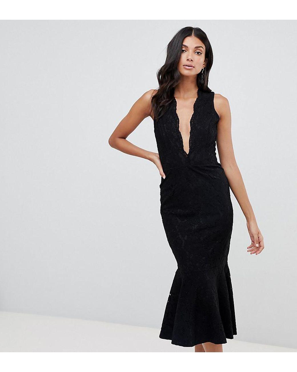 aed67ac5a349 John Zack Allover Lace Midi Dress With Peplum Hem In Black in Black - Lyst