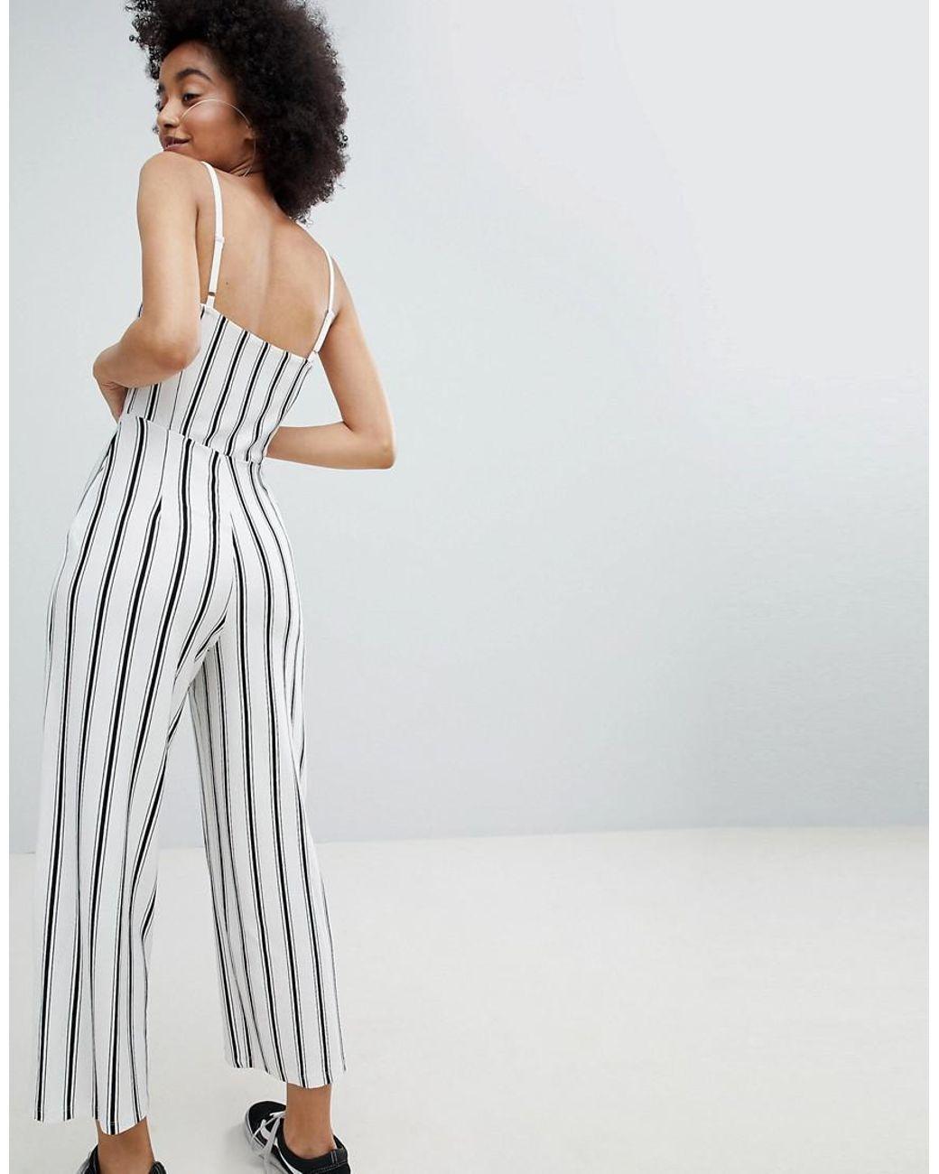 c70fdb7293f Lyst - Bershka Stripe Wide Leg Jumpsuit In Cream in White