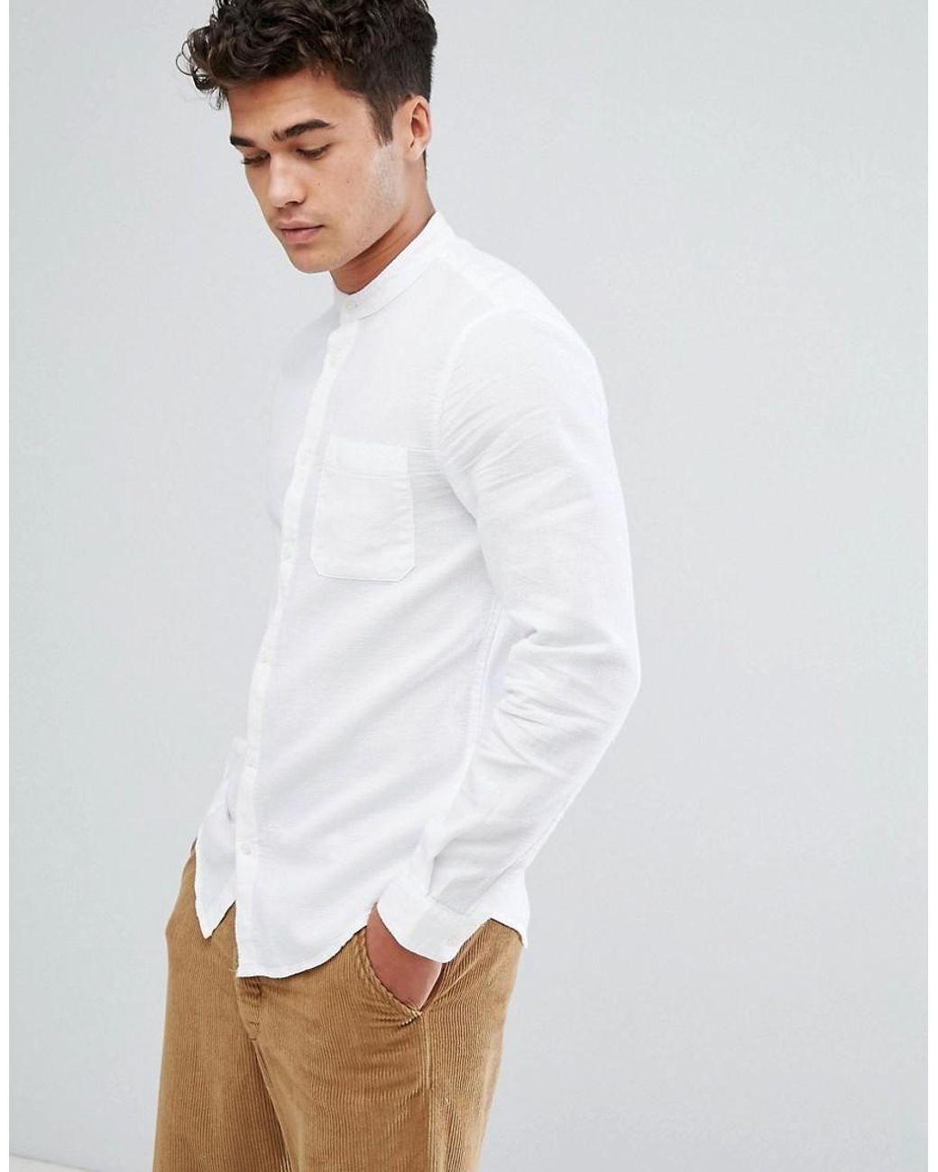 560d8987d Bershka Shirt With Grandad Collar In White in White for Men - Lyst