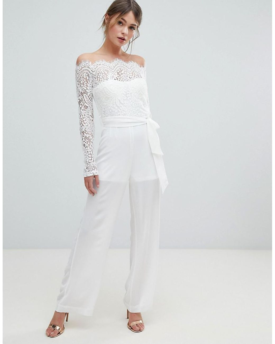 0964b80d26022 Lyst - Lioness Off Shoulder Lace Top Wide Leg Jumpsuit in White