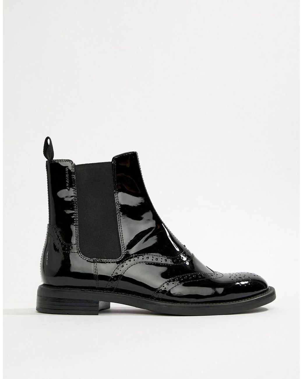 ee03b380b8dfe Vagabond Amina Patent Leather Brogue Chelsea Boot in Black - Lyst