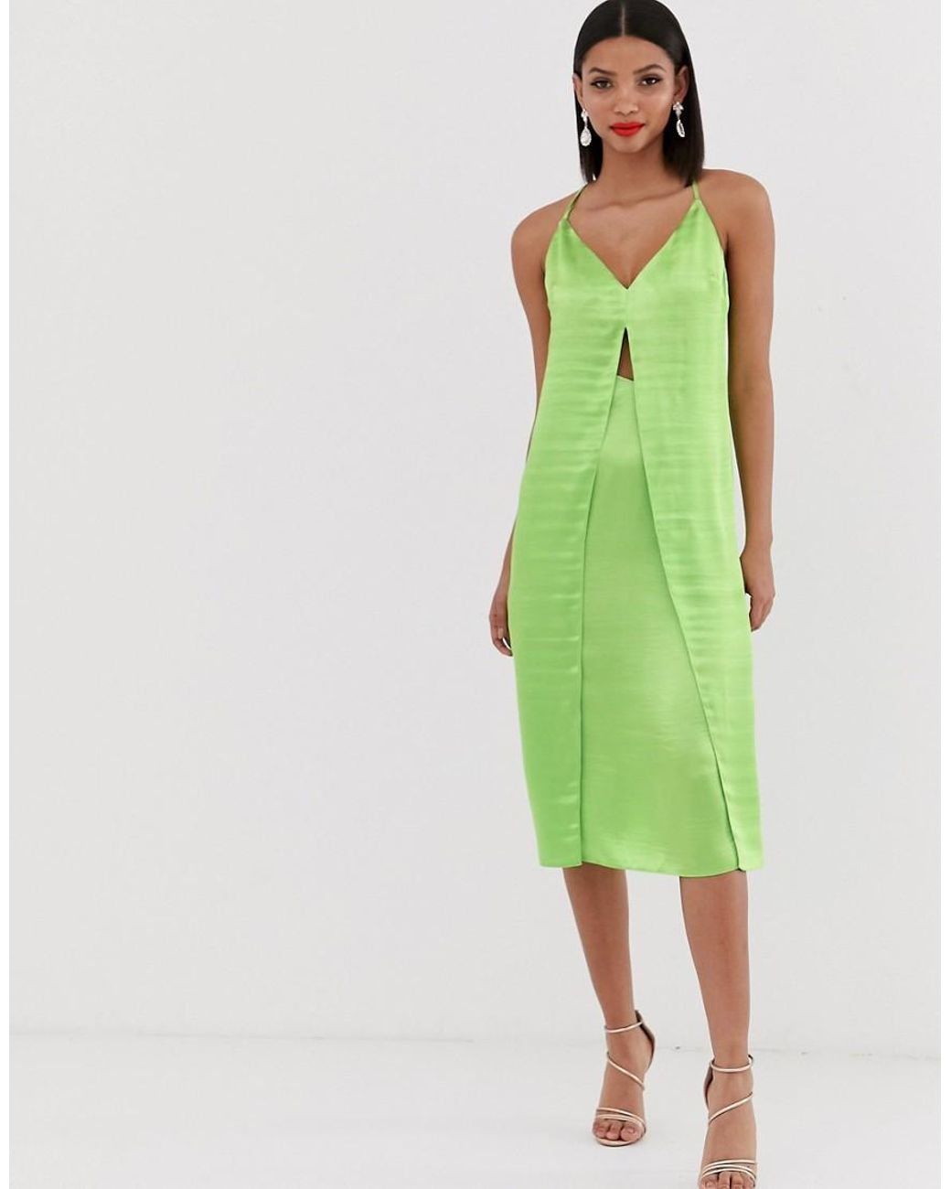 cc7cc7179a756 ASOS Cami Midi Slip Dress With Cut Out With High Shine Satin in Green - Lyst