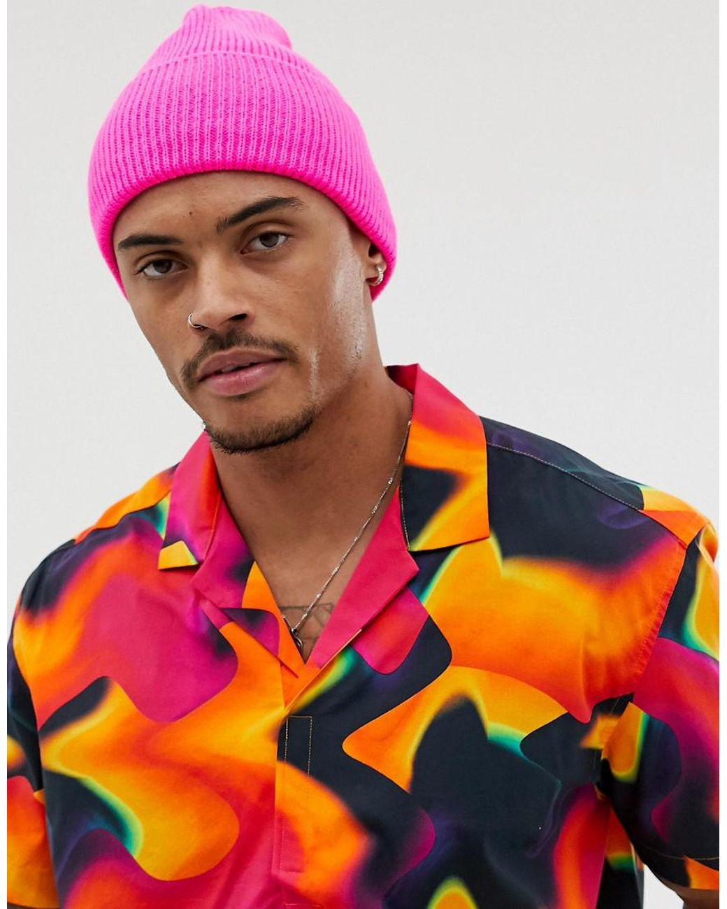 fad99647854 Lyst - ASOS Neon Pink Beanie in Pink for Men