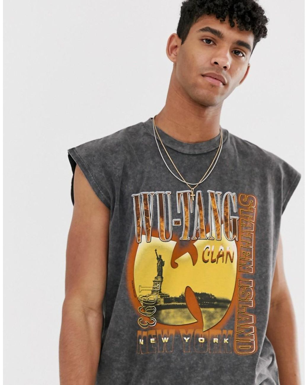04c22fe9023a5 ASOS Wu-tang Clan Oversized Sleeveless T-shirt With Acid Wash in Black for  Men - Lyst