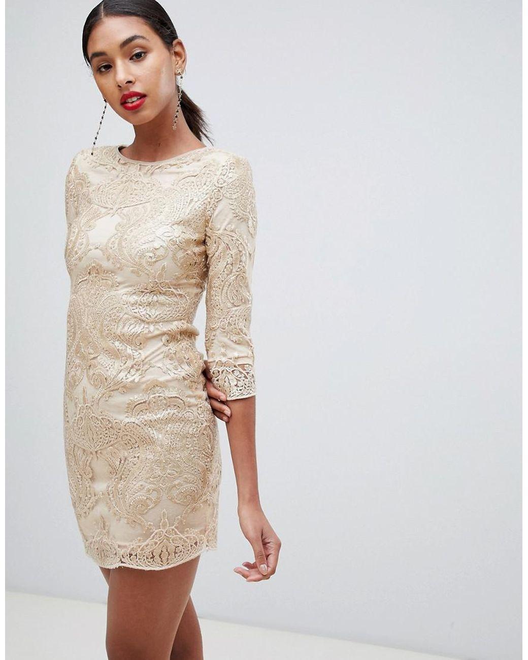 e1796f984e455 TFNC London Baroque Patterned Sequin Mini Dress In Gold in Metallic - Lyst