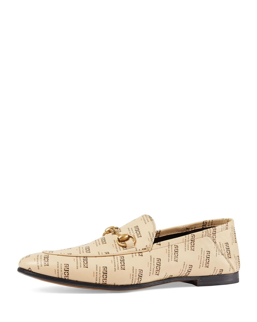 09a6c835e6b Lyst - Gucci Leather Invite Print Loafer in Natural for Men - Save 56%