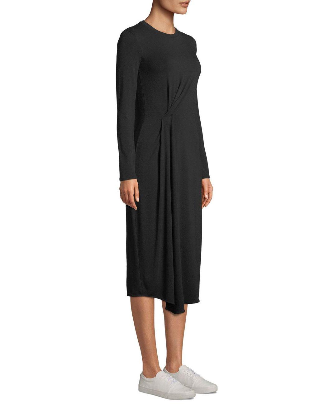 15716f8cde3d Vince Long-sleeve Side-drape Jersey Midi Dress in Black - Save 38% - Lyst