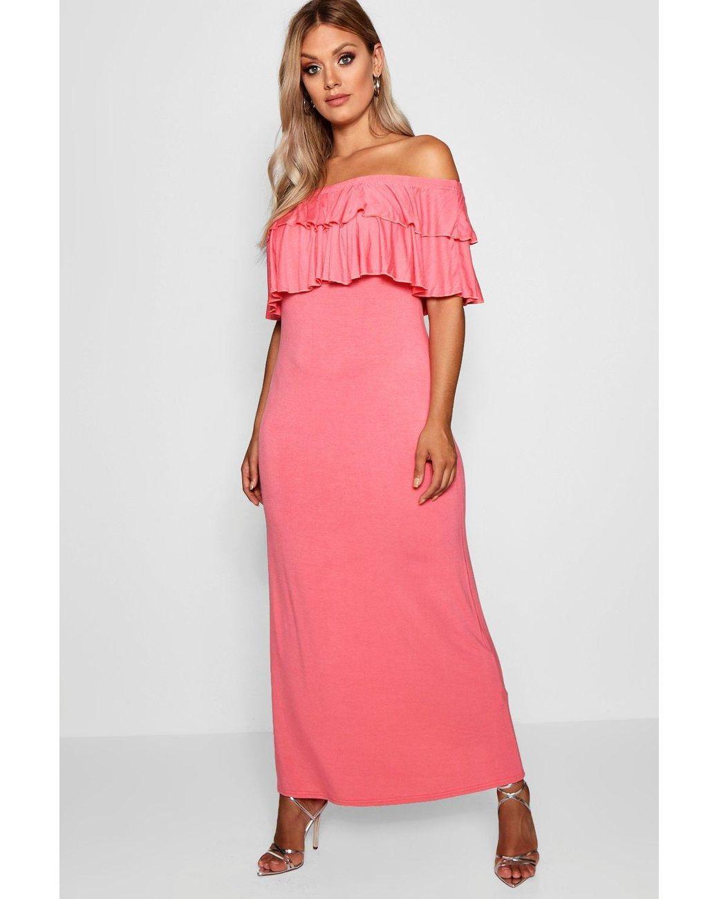 ef4dd6dce576 Boohoo Plus Off The Shoulder Ruffle Maxi Dress in Pink - Lyst
