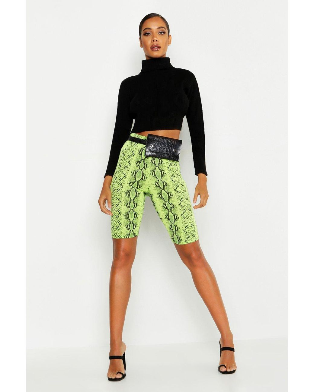 3e79c2f079 Boohoo Neon Snake Cycling Shorts in Green - Lyst
