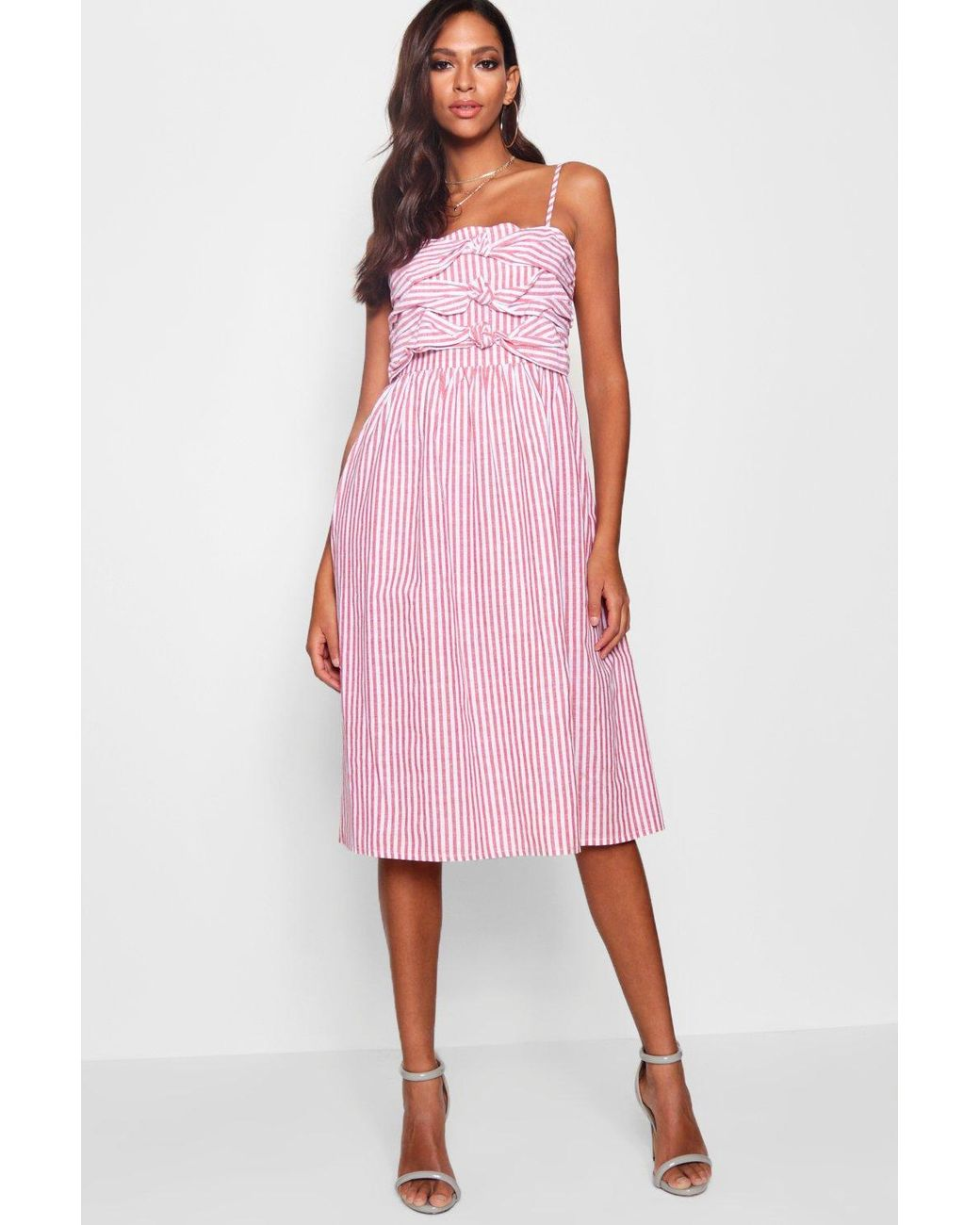 98247f92c004 Boohoo Knot-front Strappy Sundress in Pink - Lyst