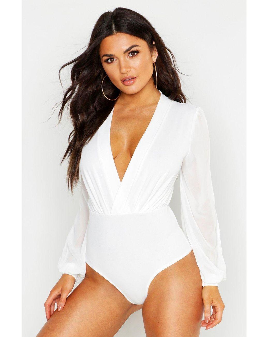 b561880ec517c Boohoo Wrap Chiffon Split Sleeve Bodysuit in White - Lyst