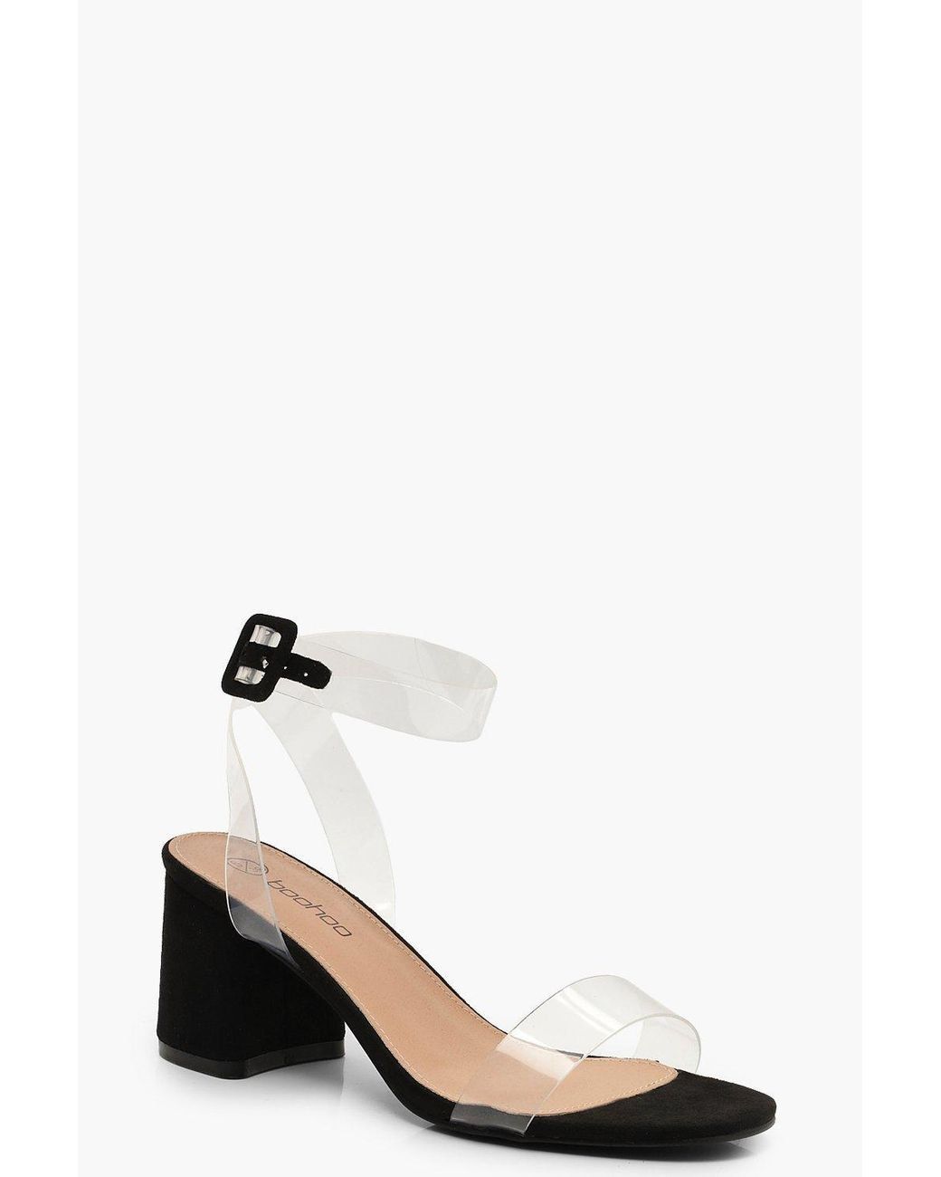 d240c65def Boohoo Wide Fit Clear Strap 2 Part Block Heels in Black - Lyst