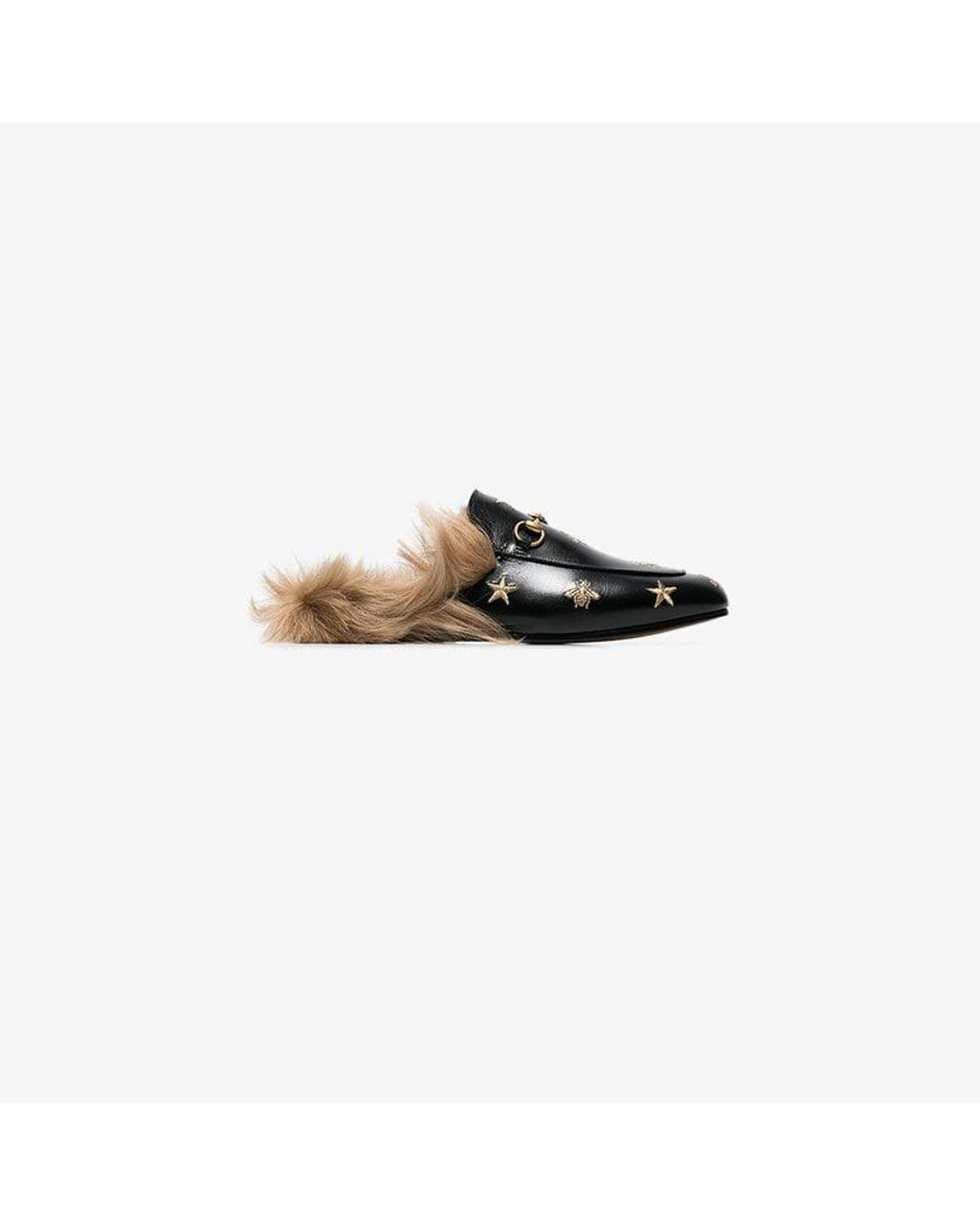 4965230de17 Gucci Princetown Bee And Star Embroidered Fur Lined Loafers in Black ...