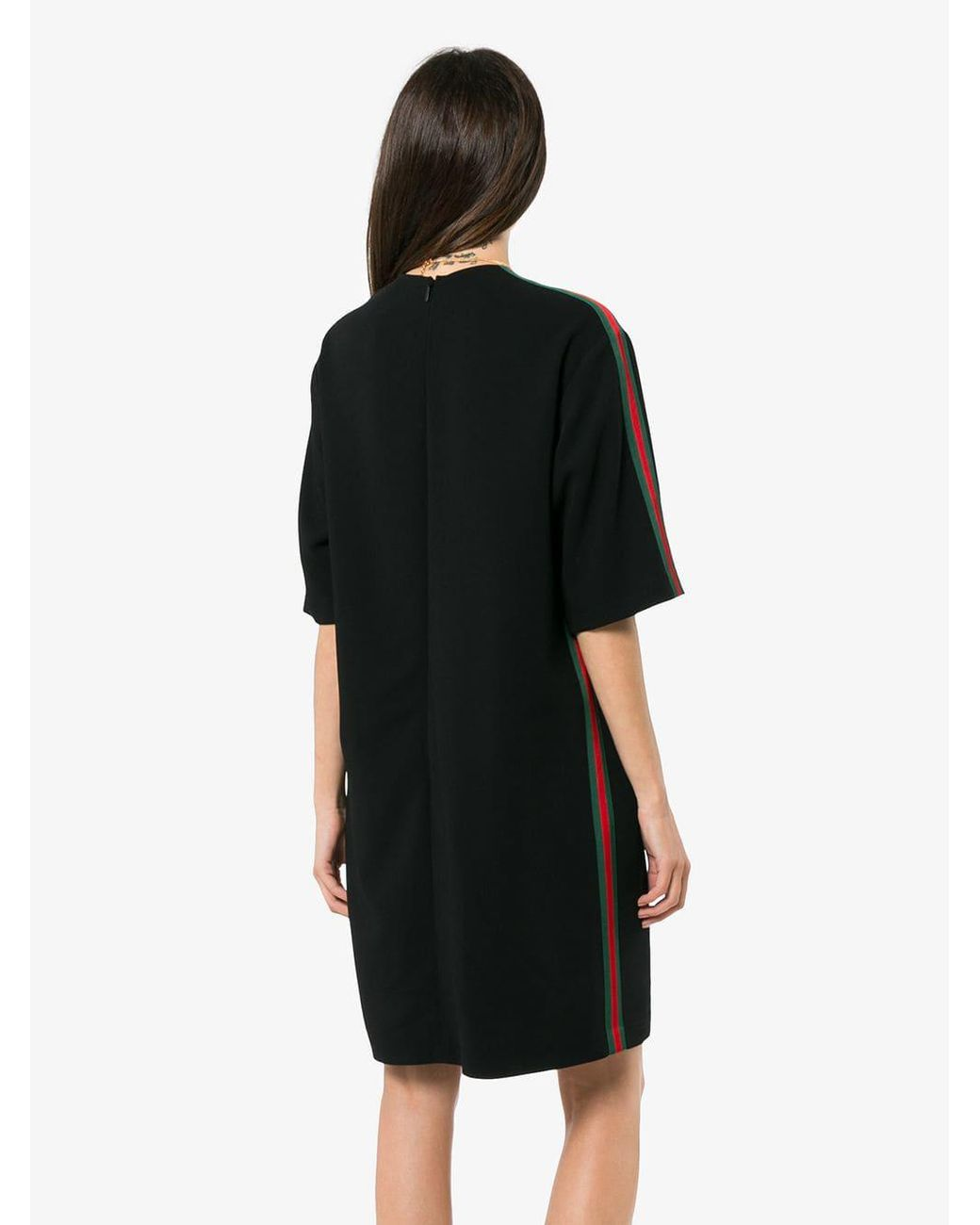 7d870254c3 Gucci Stretch Viscose Tunic Dress With Web in Black - Lyst
