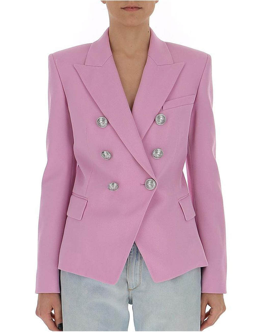 fd0df6fa Balmain Double-breasted Blazer in Pink - Lyst