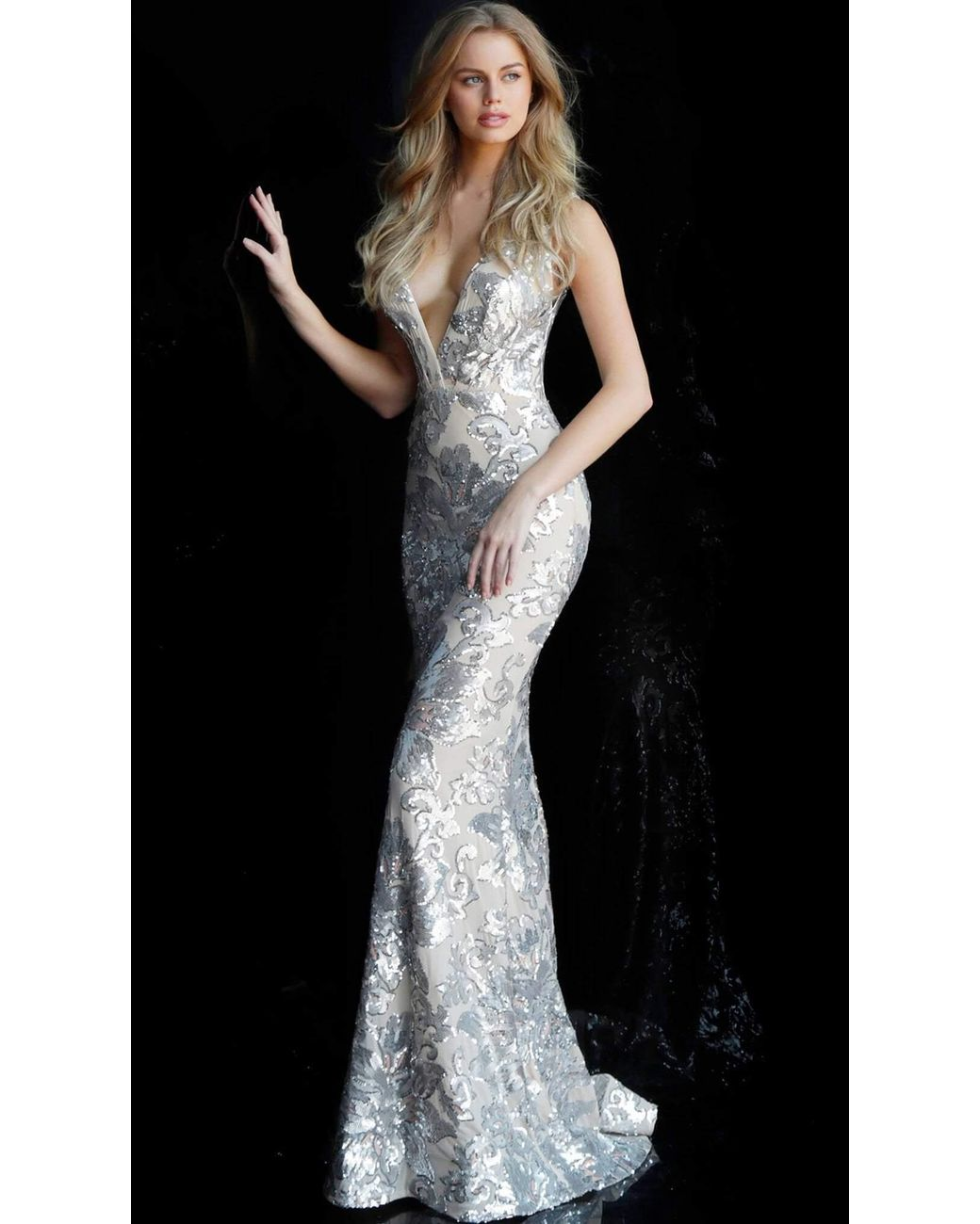bec6e7f2 Jovani. Women's Metallic Sequined Plunging V-neck Evening Gown 65578 - 1 Pc  Silver/nude In ...