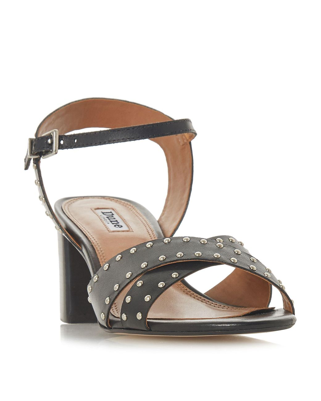 f626e02a514 Dune. Women s Black Leather  joyride  Mid Block Heel Ankle Strap Sandals