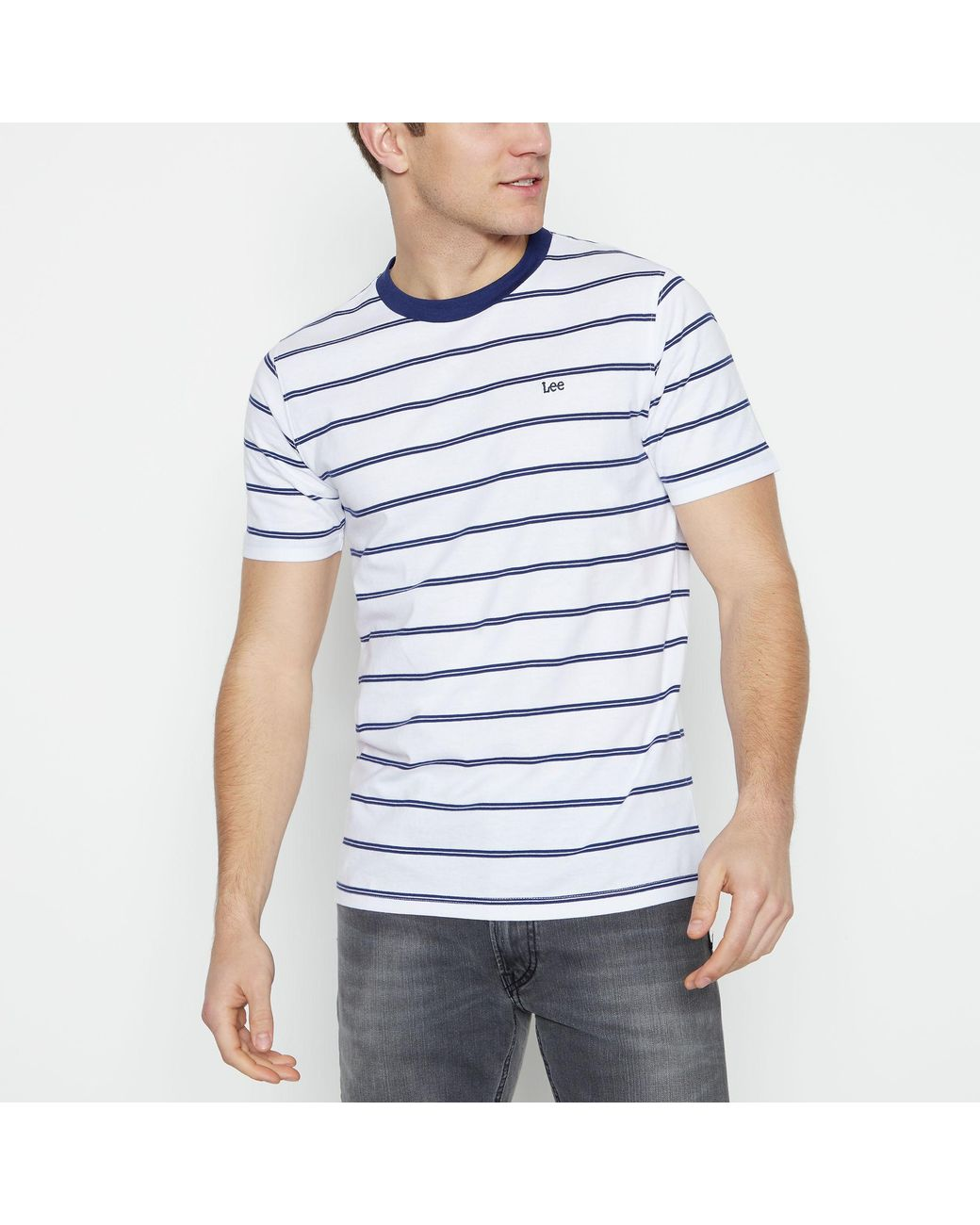 21f92265 Lee Jeans White Striped Cotton T-shirt in White for Men - Lyst