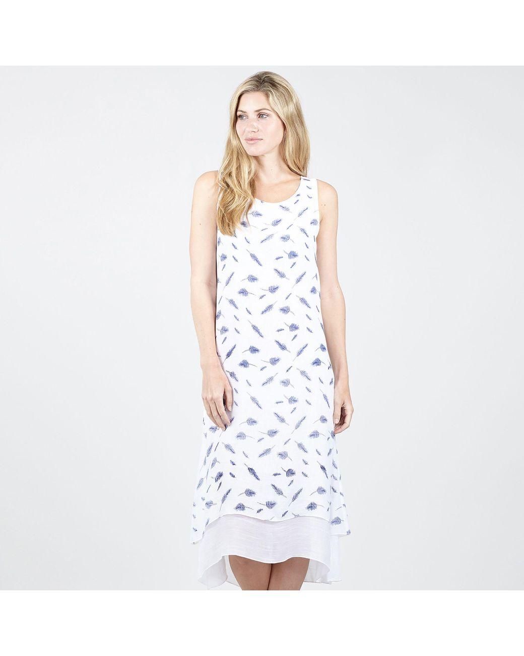 90655523426 Izabel London White Leaf Print Tunic Dress in White - Lyst