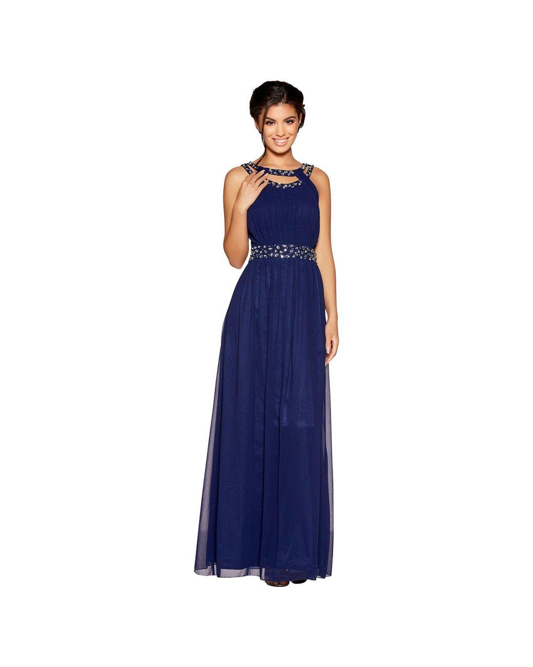 9b521b542871 Quiz Navy Chiffon Round Neck Embellished Maxi Dress in Blue - Lyst