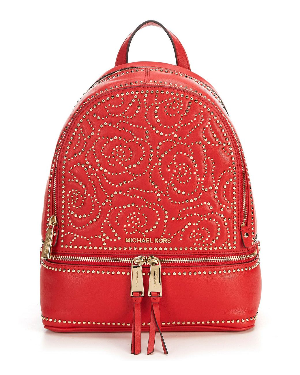 de2a375084a Lyst - MICHAEL Michael Kors Rhea Zip Medium Backpack in Red - Save 28%