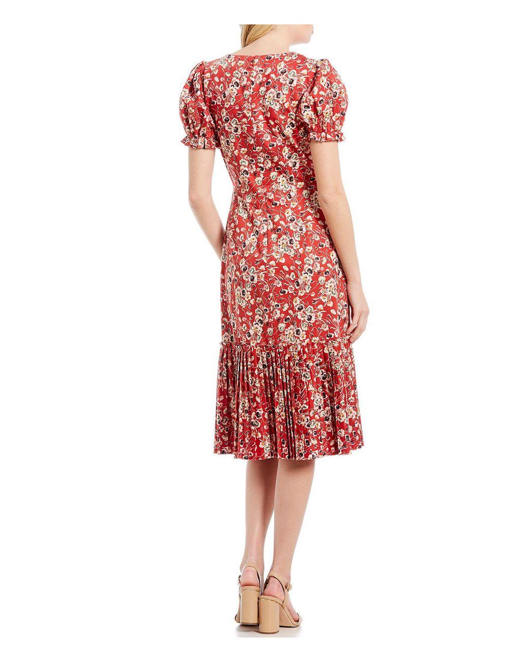 09eb2827972 Antonio Melani Chloe Pleated Floral Print Puff Sleeve Midi Dress in Red -  Lyst