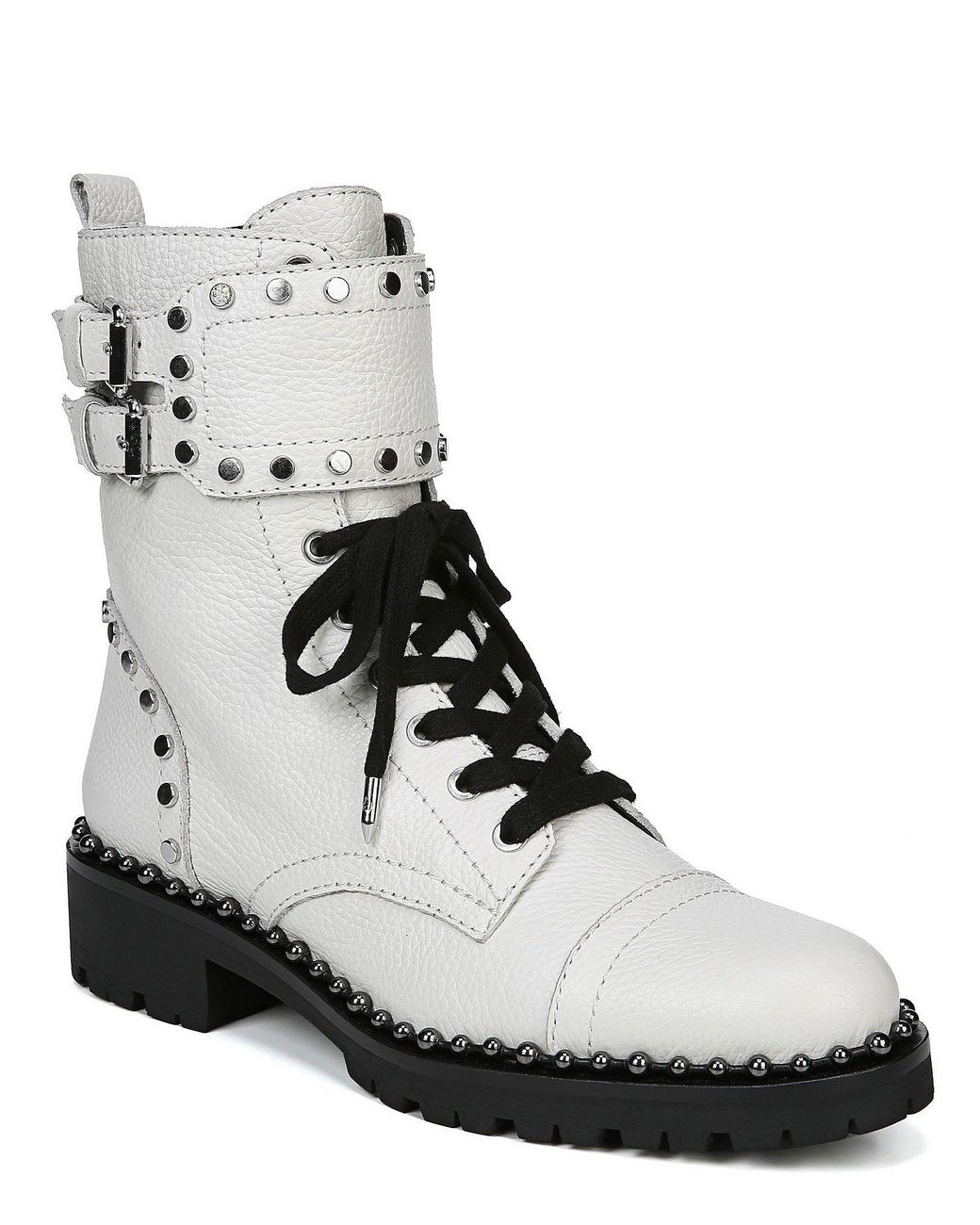 cf0f9e91d Sam Edelman. Women s White Jennifer Leather Studded Buckle Detail Booties