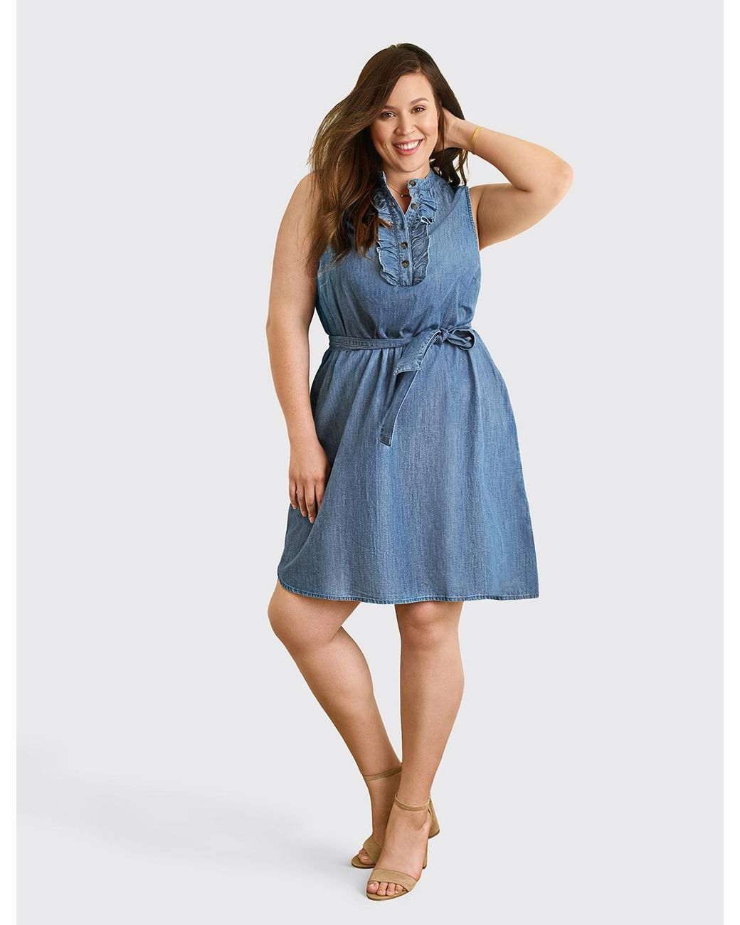 935f56d09cd Draper James Belted Sleeveless Chambray Ruffle Shift Dress in Blue - Lyst