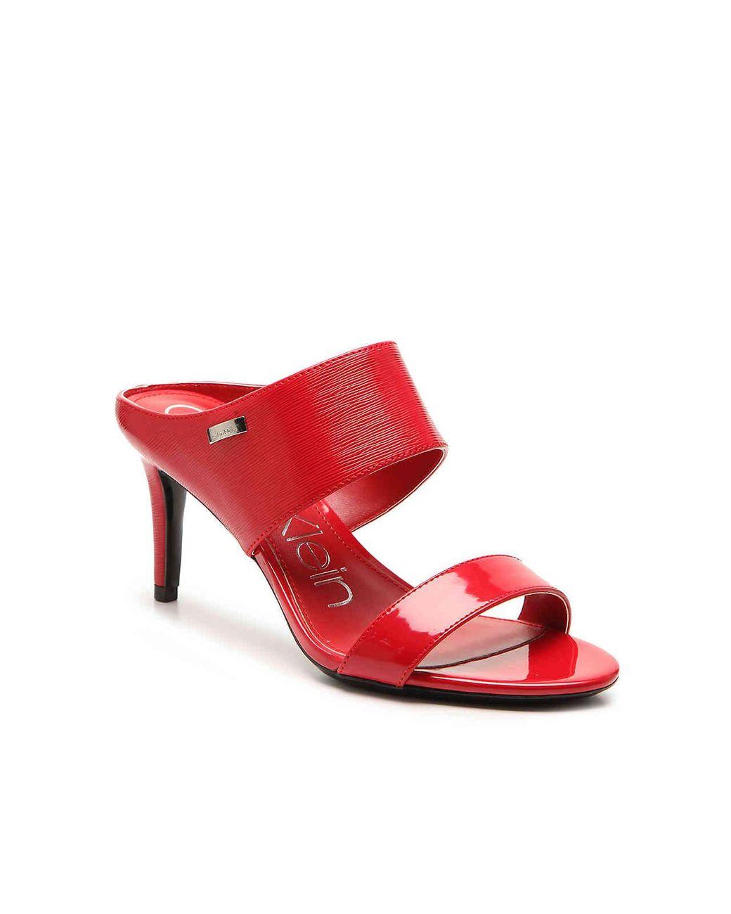 27c4cd9e905 Lyst - Calvin Klein Lorinda Sandal in Red