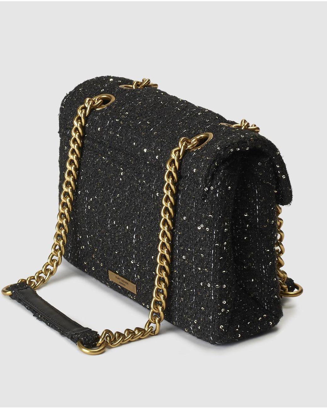 3ad4e1a7f912 Kurt Geiger Kensington Large Black Tweed Crossbody Bag With Sequins in Black  - Lyst