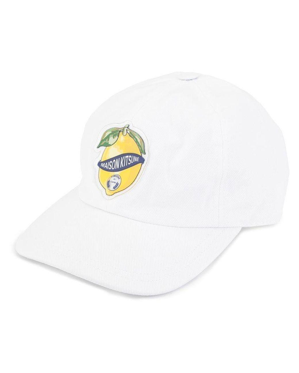 9e121d869a32b Maison Kitsuné Lemon Patch Baseball Cap in White - Lyst