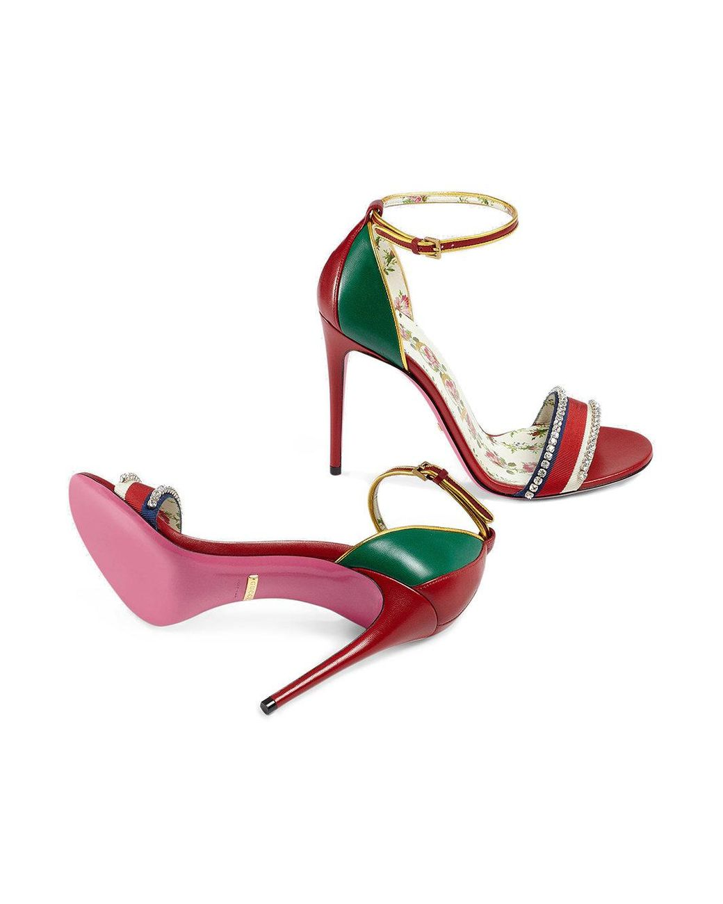 698a511933da Lyst - Gucci Leather Sandal With Crystals in Red - Save 43%