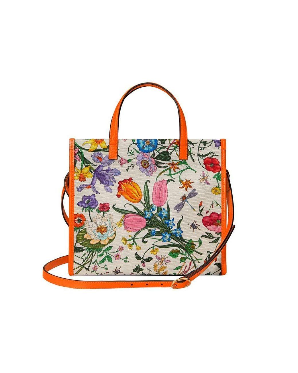 6c180d597283 Gucci Medium Flora Tote Bag in White - Lyst