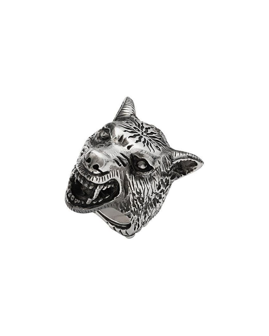 0d594a277d5f Gucci Anger Forest Wolf Head Ring In Silver in Metallic for Men - Lyst